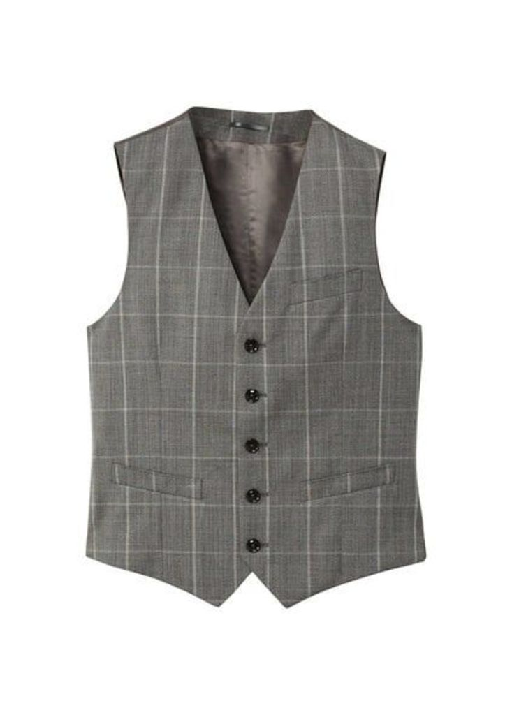 Slim-fit check cold wool suit gilet