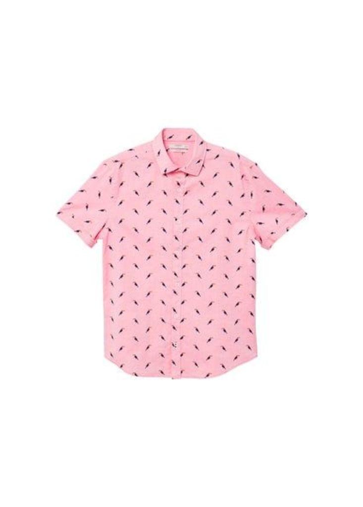 Slim-fit toucans print cotton shirt