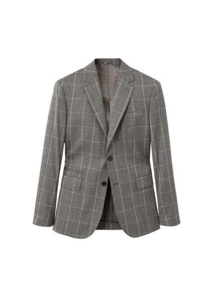 Slim-fit check wool suit blazer