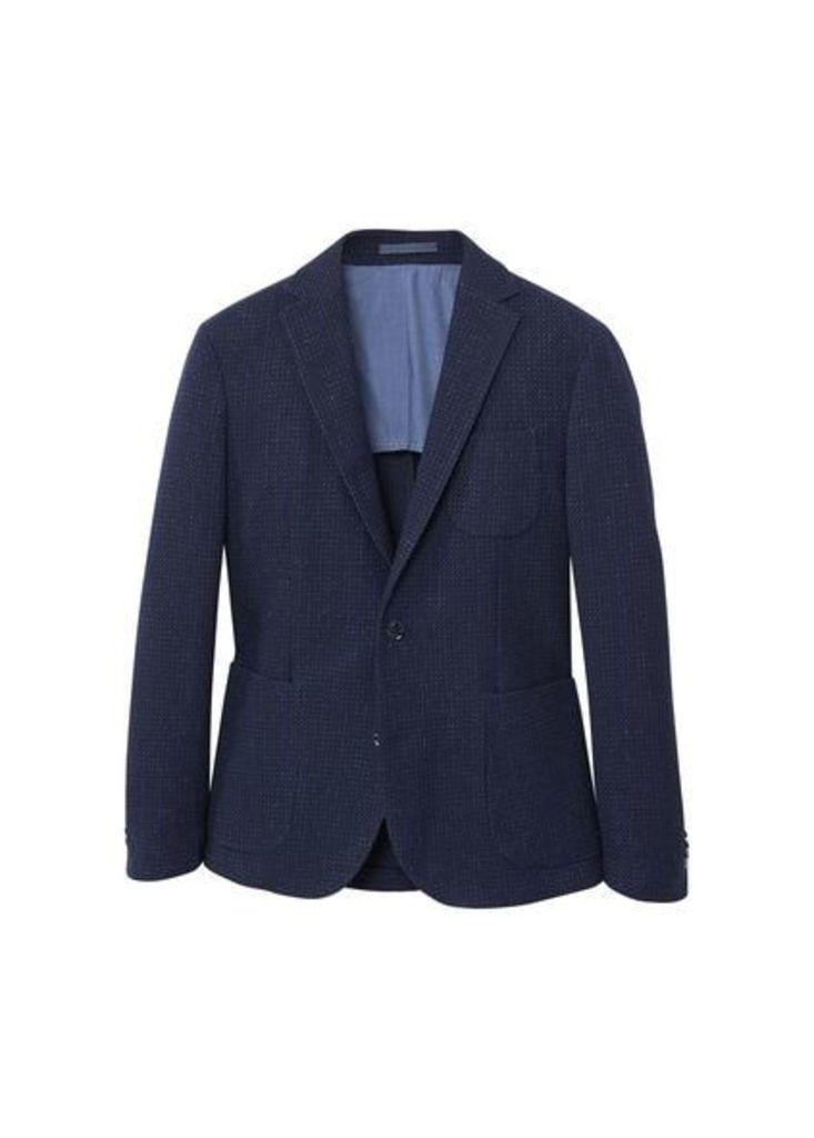 Slim fit flecked cotton blazer