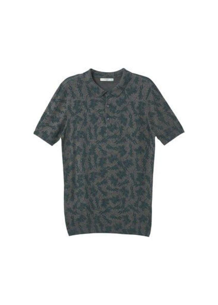Fine-knit print polo shirt