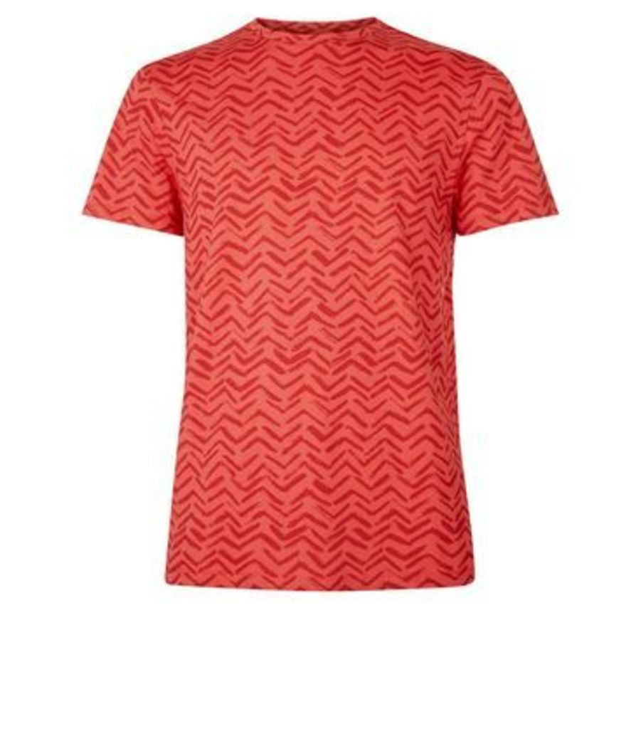 Red Chevron Print T-Shirt New Look