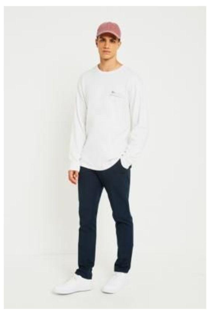 Farah Basset Hopsack True Navy Slim Fit Trousers, NAVY