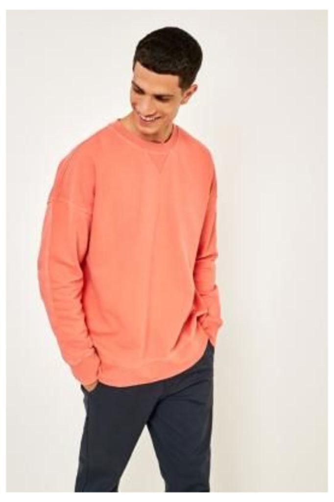 UO Stone Wash Peach Sweatshirt, ORANGE