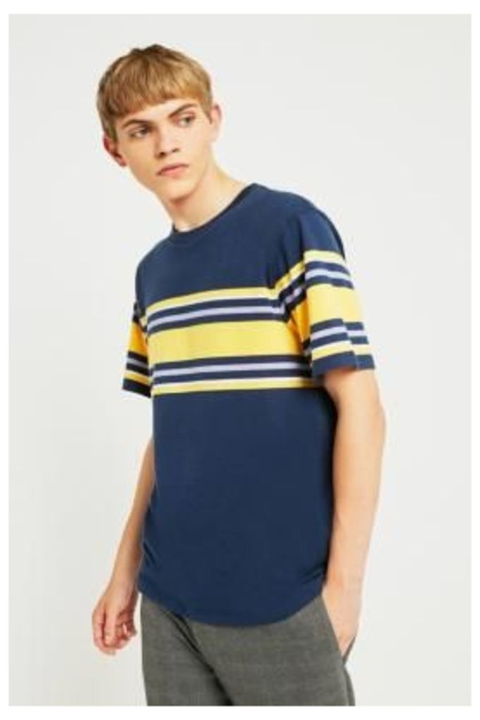 UO Navy and Yellow Placement Stripe T-shirt, NAVY