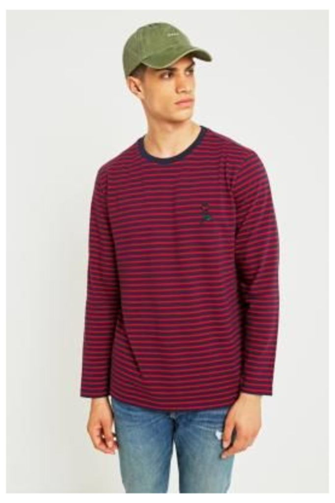 UO Navy and Red Striped Rose Embroidery Long-Sleeve T-shirt, RED