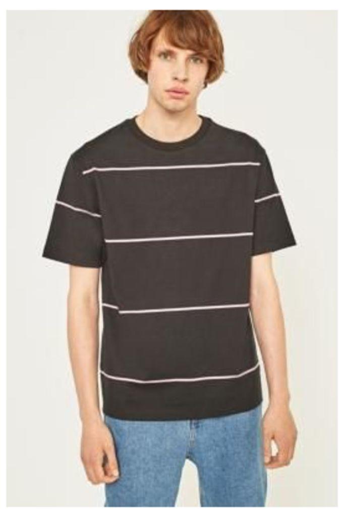 UO Black and Pink Horizontal Stripe T-shirt, BLACK