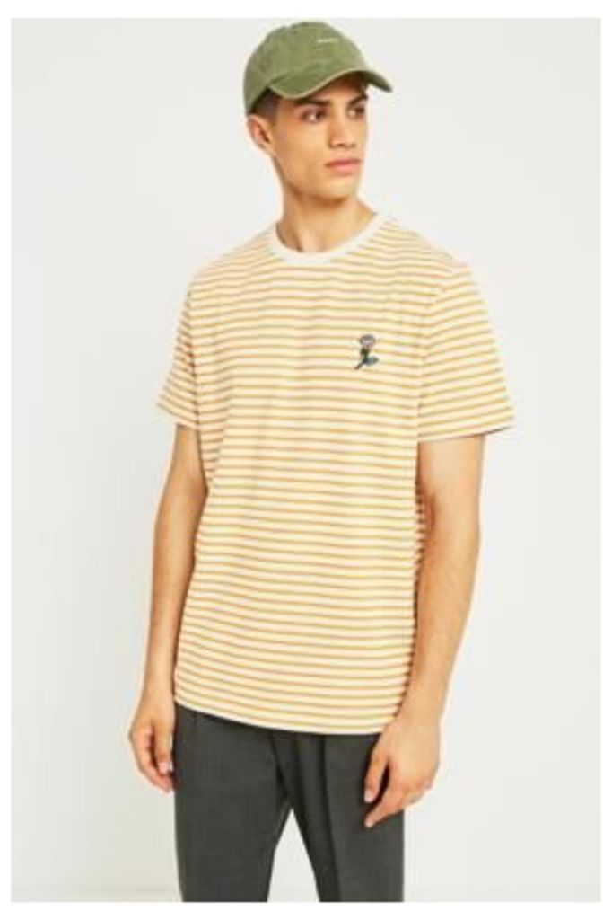 UO Caramel and Ecru Striped Rose Embroidery T-shirt, HONEY
