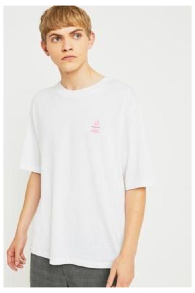 Cheap Monday Line Skull White and Pink T-shirt, WHITE