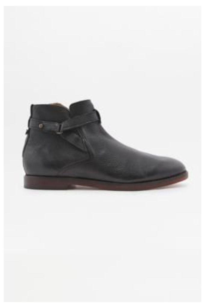H by Hudson Cutler Black Leather Belted Boots, BLACK