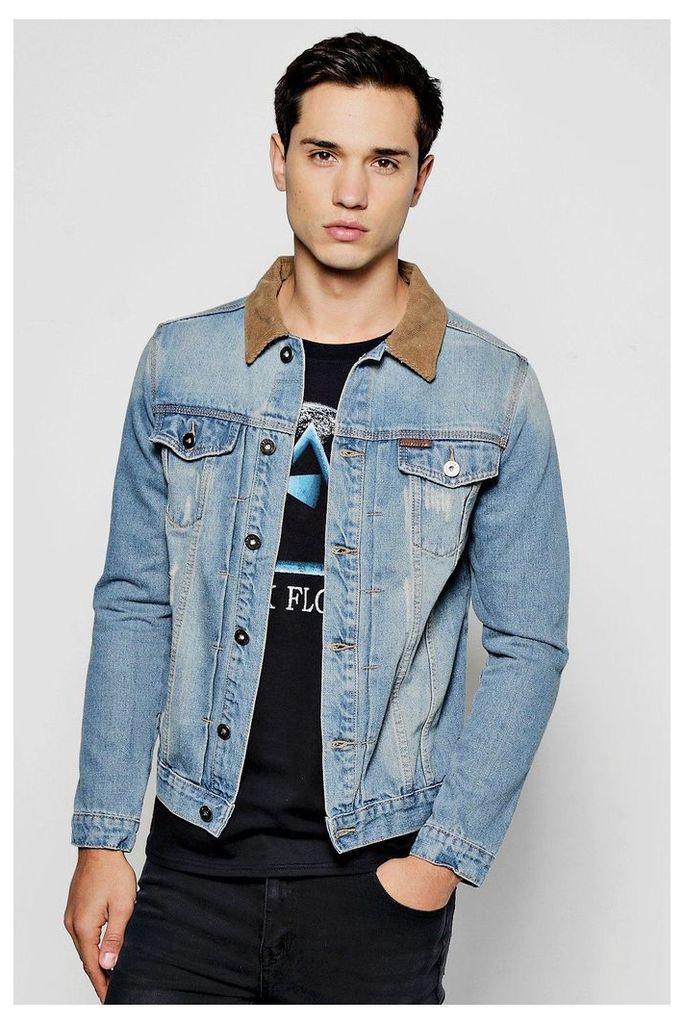 Denim Jacket With Cord Collar - blue