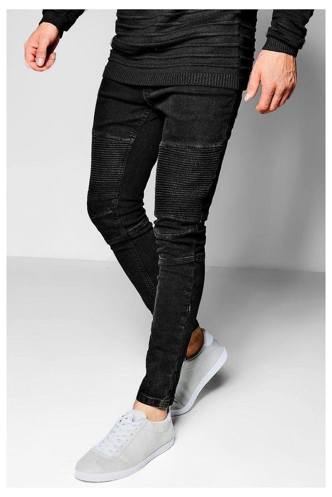 Wash Skinny Fit Biker Jeans - charcoal