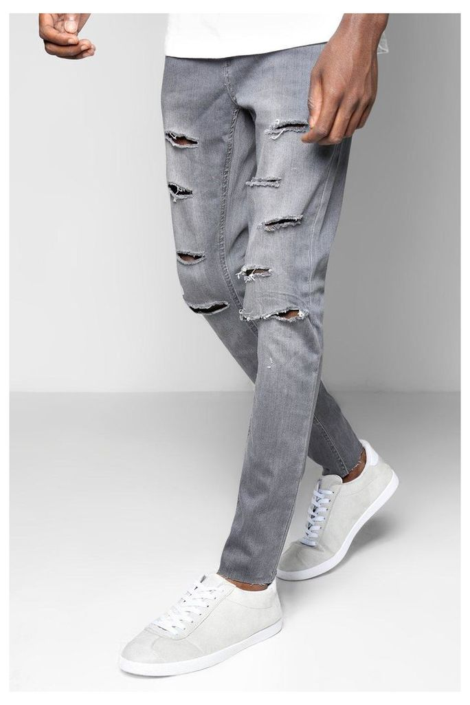 Fit Raw Edge Jeans With All Over Rips - grey