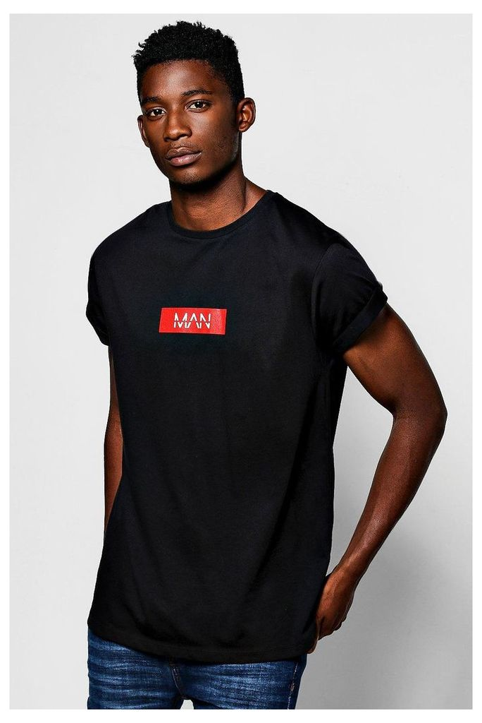 T-Shirt With Roll Sleeves - black
