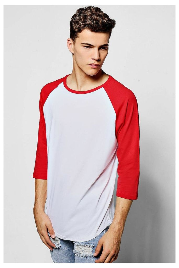 T-Shirt With 3/4 Sleeves - red
