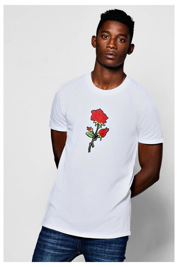 Rose Embroidered T-Shirt - white
