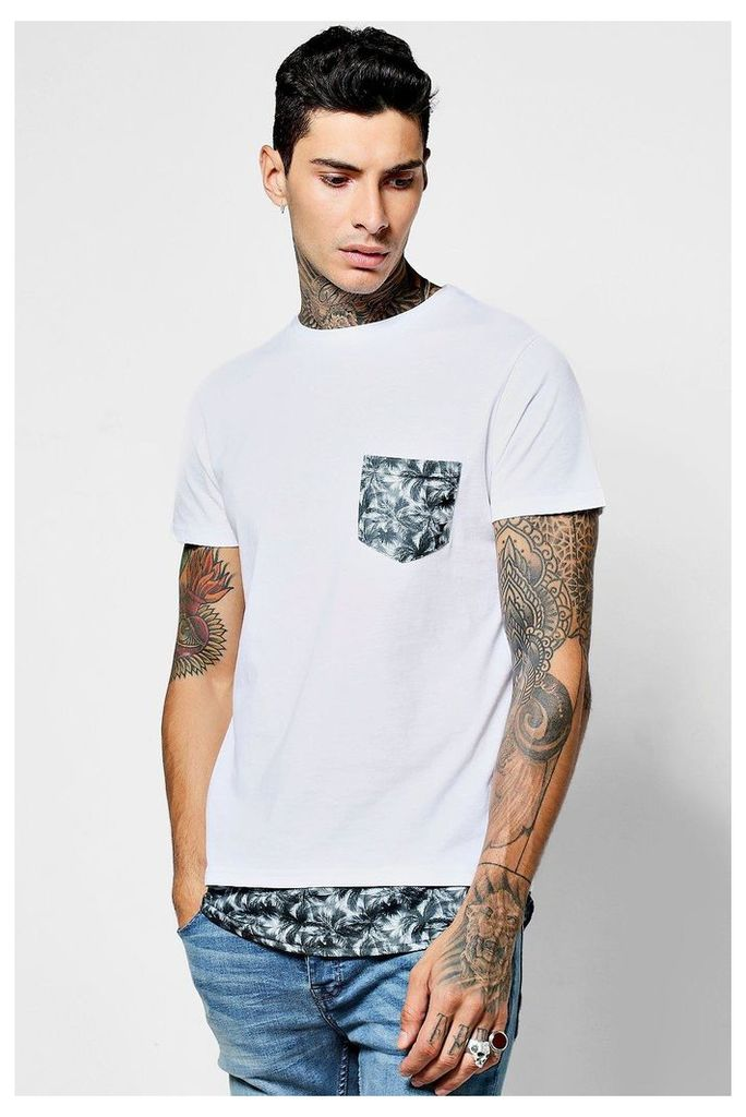 T-Shirt With Palm Print Pocket - white