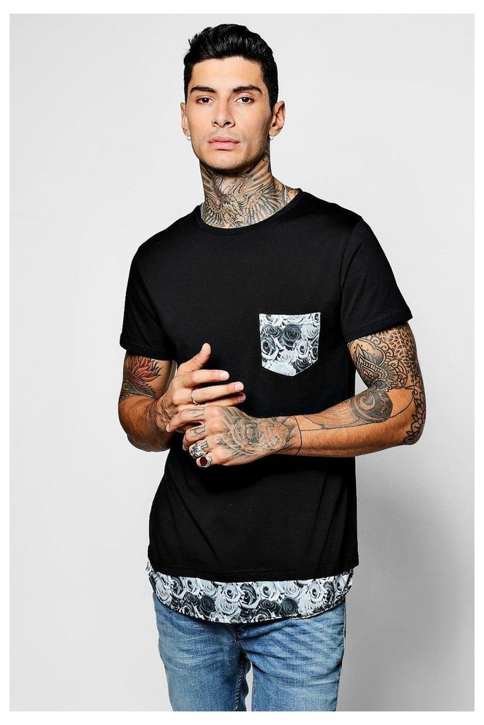 Length Rose Print Pocket T-Shirt - black
