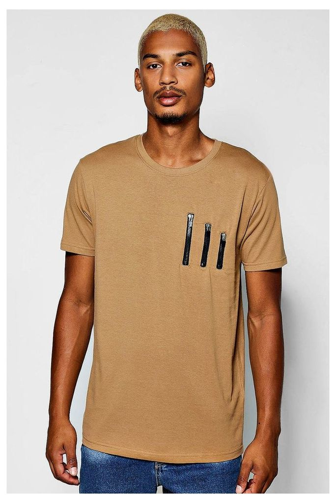 Detail T-Shirt With Curve Hem - sand