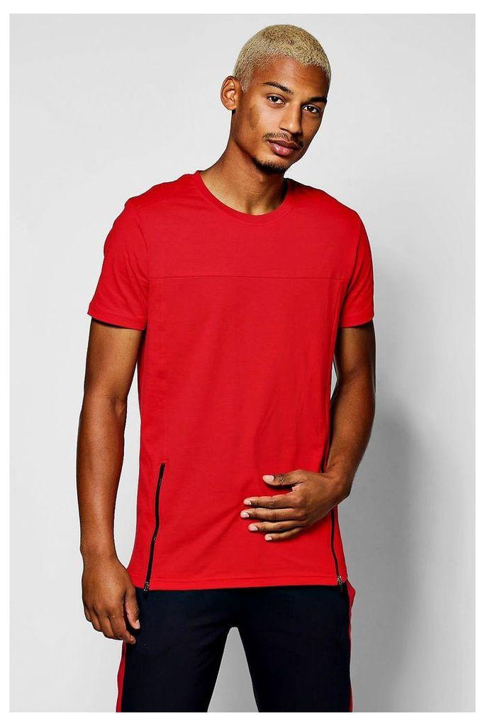 T-Shirt With Zip Hem - red