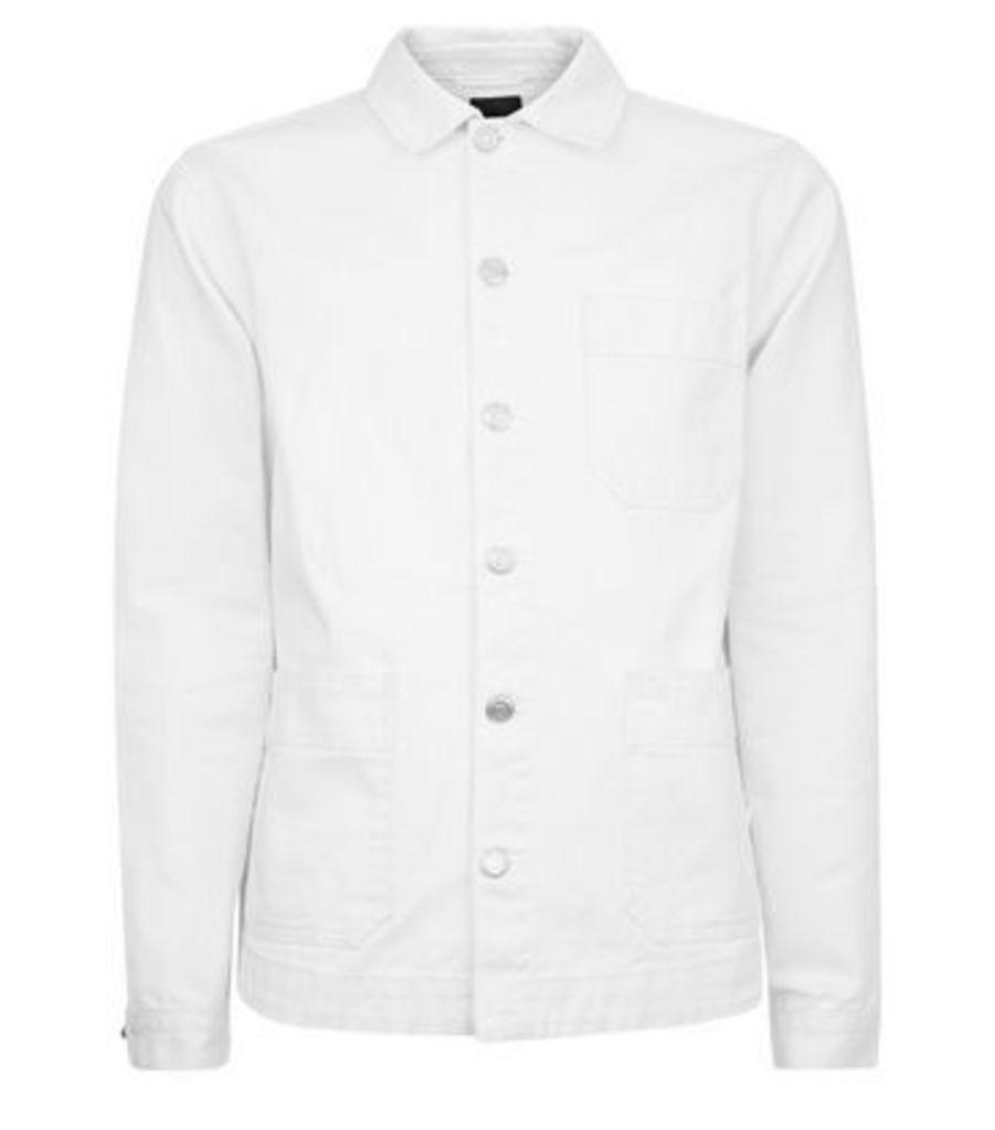 White Denim Worker Jacket New Look