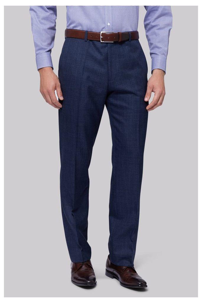 Moss Esq. Regular Fit Indigo Sharkskin Trousers