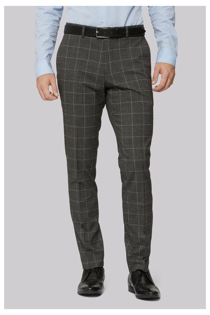 Moss London Skinny Fit Charcoal White Check Trousers