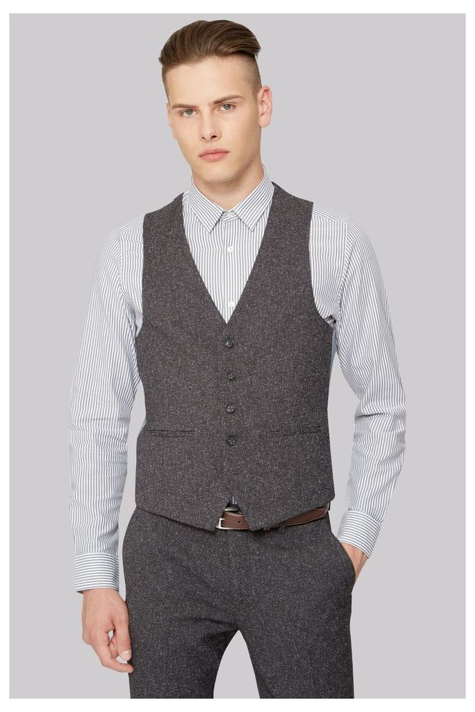 Moss London Skinny Fit Charcoal Texture Double Breasted Jacket
