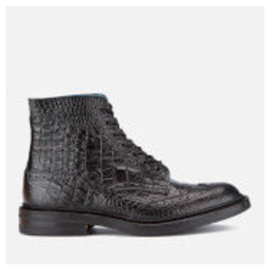 Tricker's Men's Stow Croc Leather Lace Up Brogue Boots - Black - 8 - Black