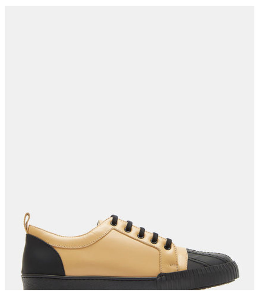 Two-Tone Shell Toe Leather Sneakers