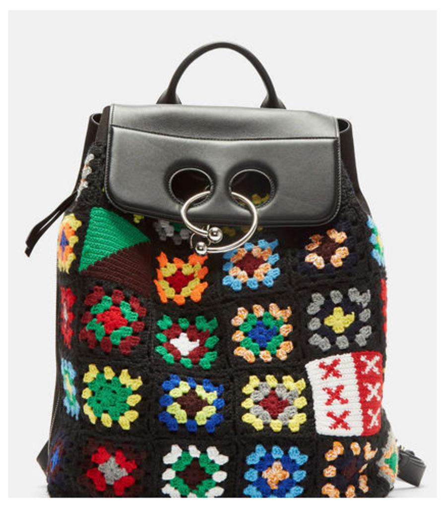 Crochet Knit Pierced Backpack