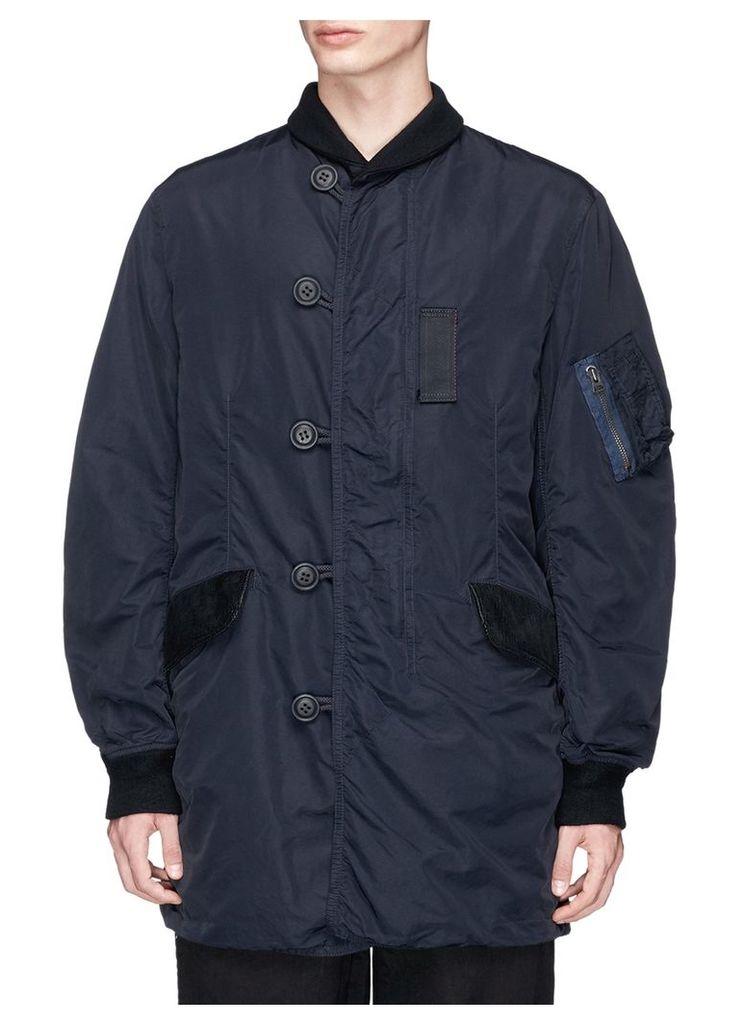 Shawl collar bomber coat
