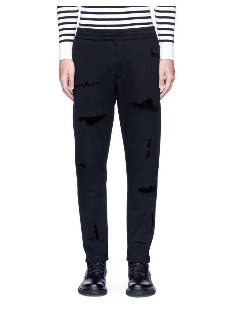 Velvet patch jogging pants