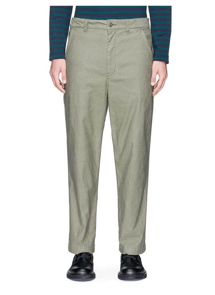 Cowhide leather pocket canvas pants