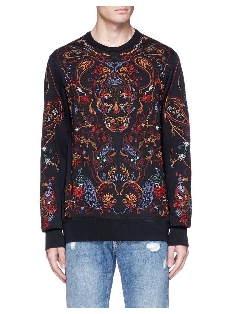 Botanical skull embroidered sweatshirt