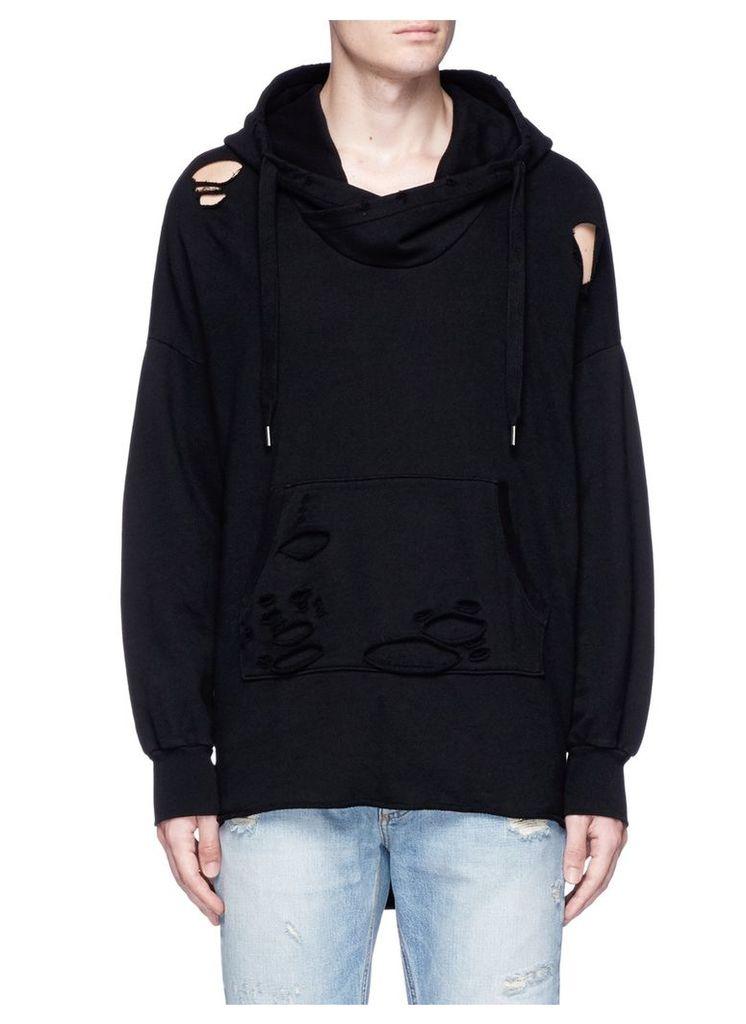 'Jay' step hem distressed hoodie