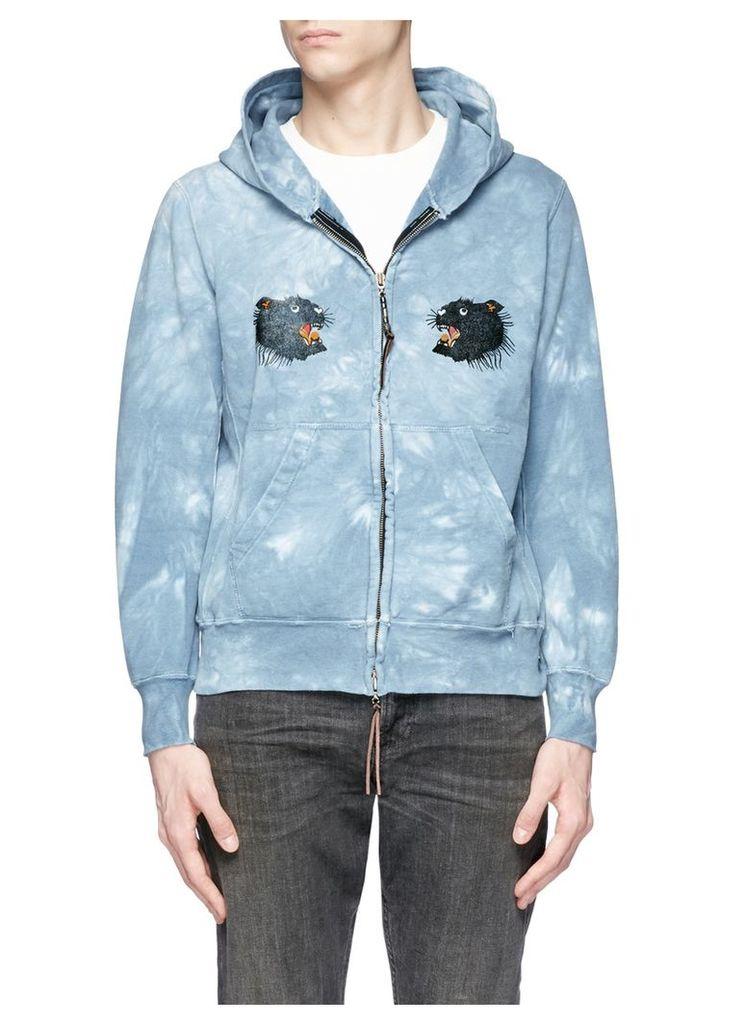Panther print tie dye zip hoodie