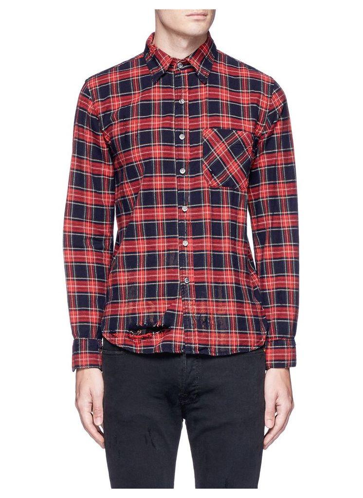 'Axel' distressed check plaid shirt