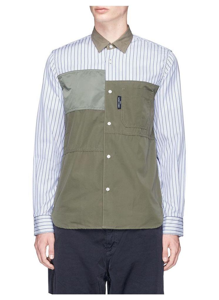 Contrast panel stripe shirt
