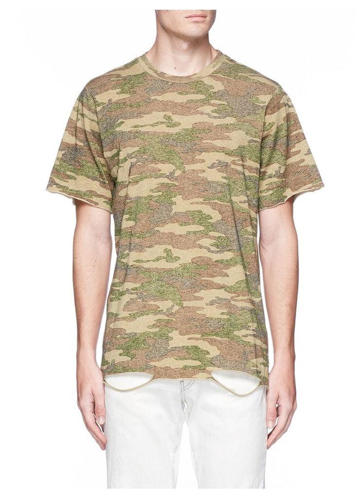 'Bryce' camouflage print ripped hem T-shirt