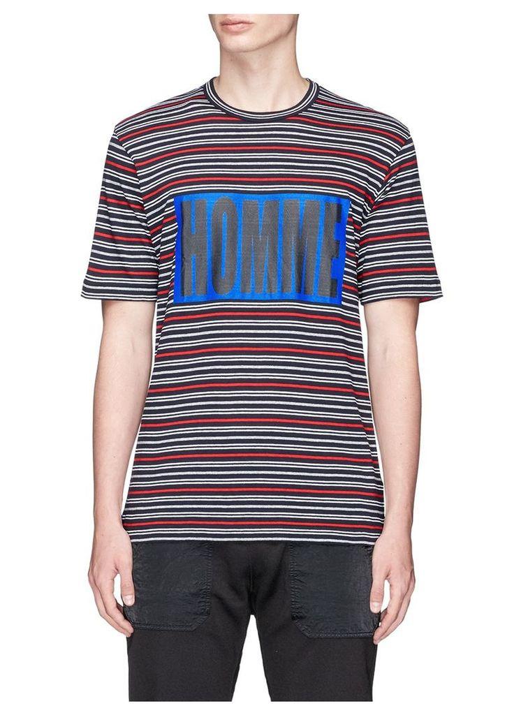'HOMME' box print stripe knit T-shirt