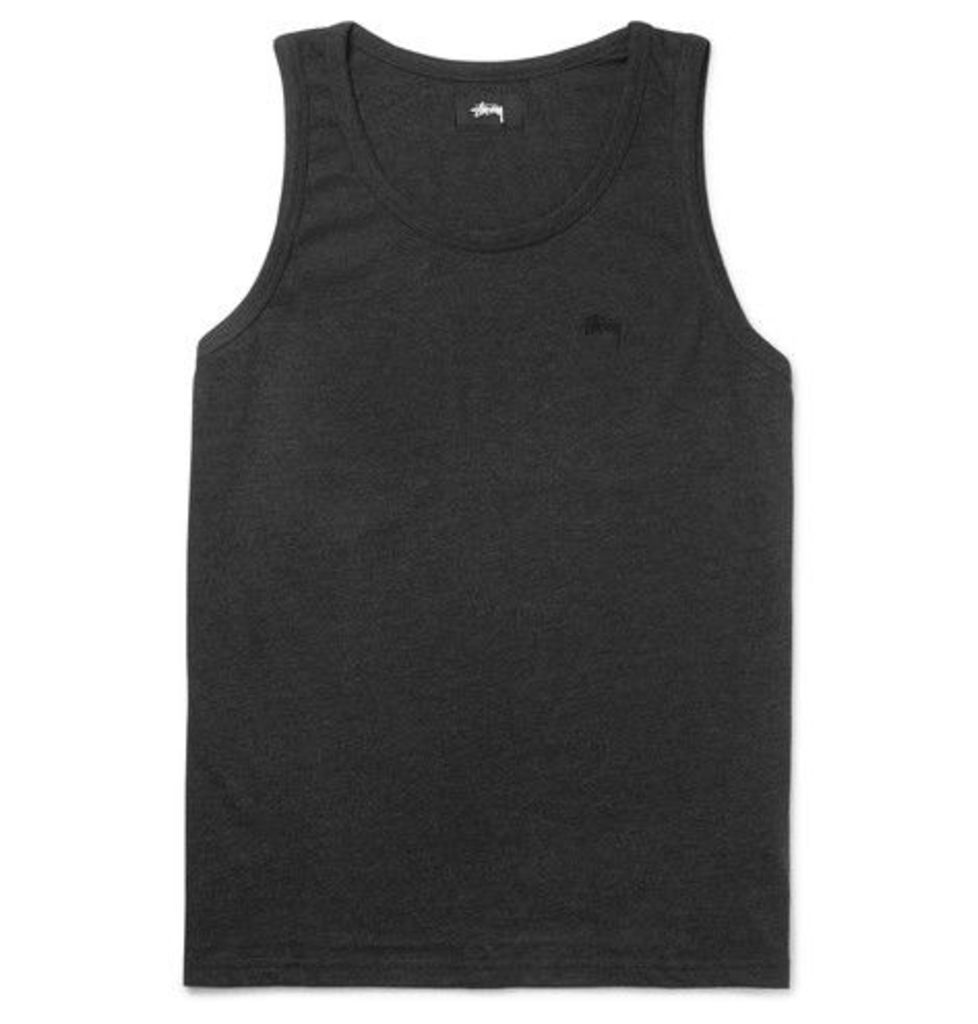 Stüssy - Garment-dyed Cotton-jersey Tank Top - Black