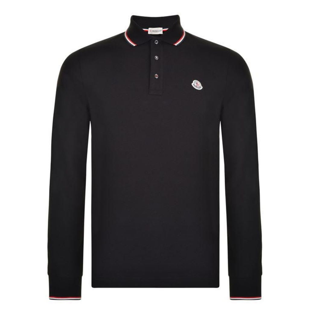 MONCLER Logo Long Sleeved Polo Shirt
