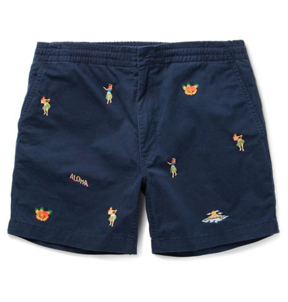 Polo Ralph Lauren - Slim-fit Embroidered Stretch-cotton Twill Shorts - Navy
