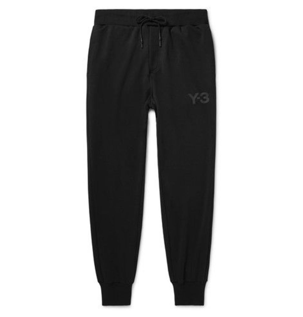 Y-3 - Tapered Printed Jersey Sweatpants - Black