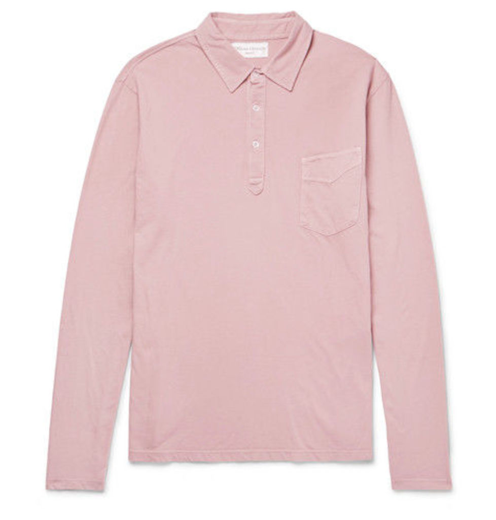 Officine Generale - Slim-fit Garment-dyed Cotton-jersey Polo Shirt - Pink