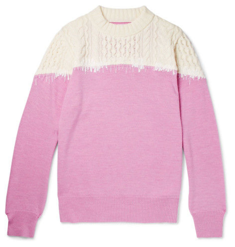 Sacai - Embroidered Panelled Wool Sweater - Pink