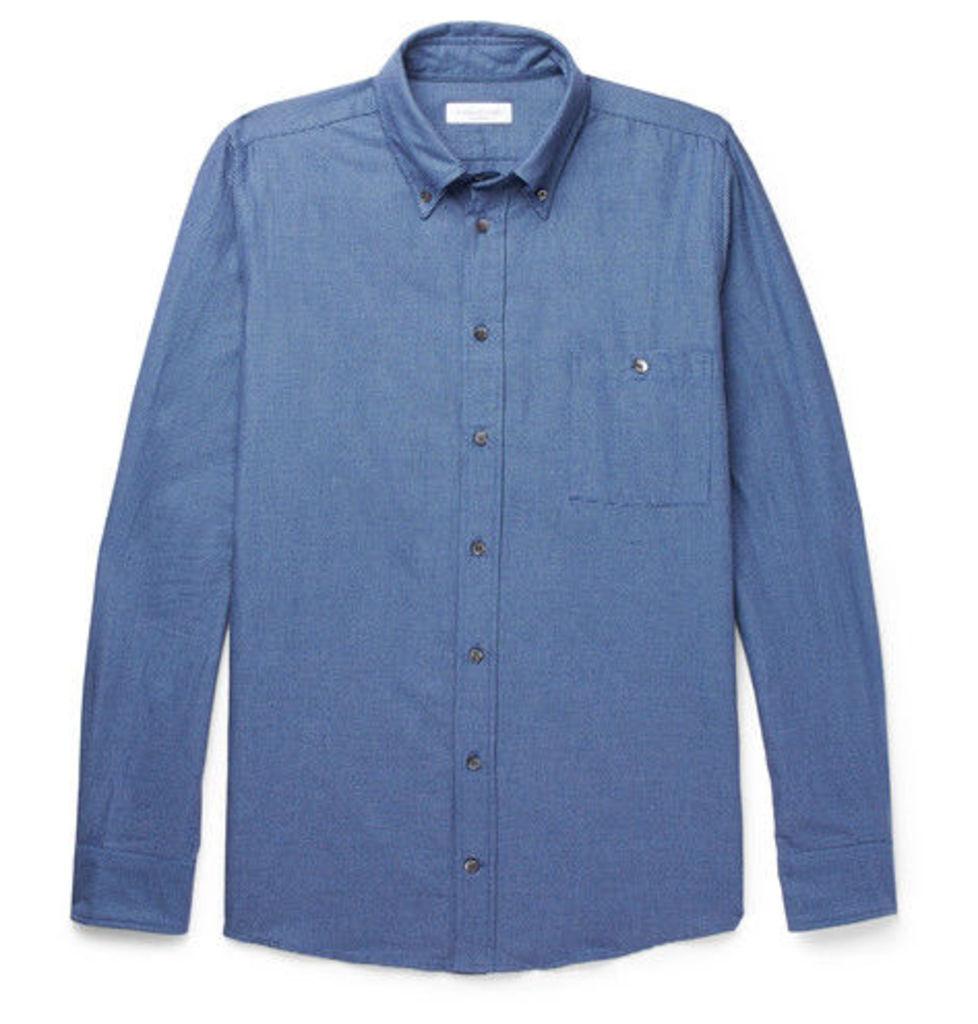 Richard James - Button-down Collar Brushed Cotton-jacquard Shirt - Blue