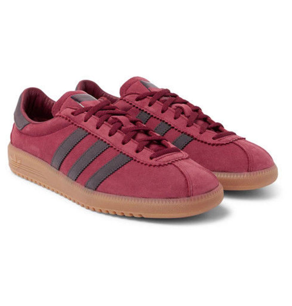 adidas Originals - Bermuda Faux Leather-trimmed Suede Sneakers - Burgundy