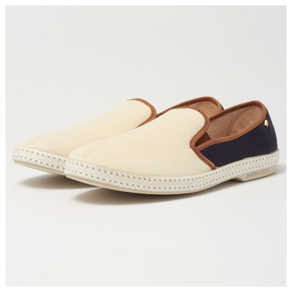 Rivieras Beige & Navy Longchamp Espadrilles
